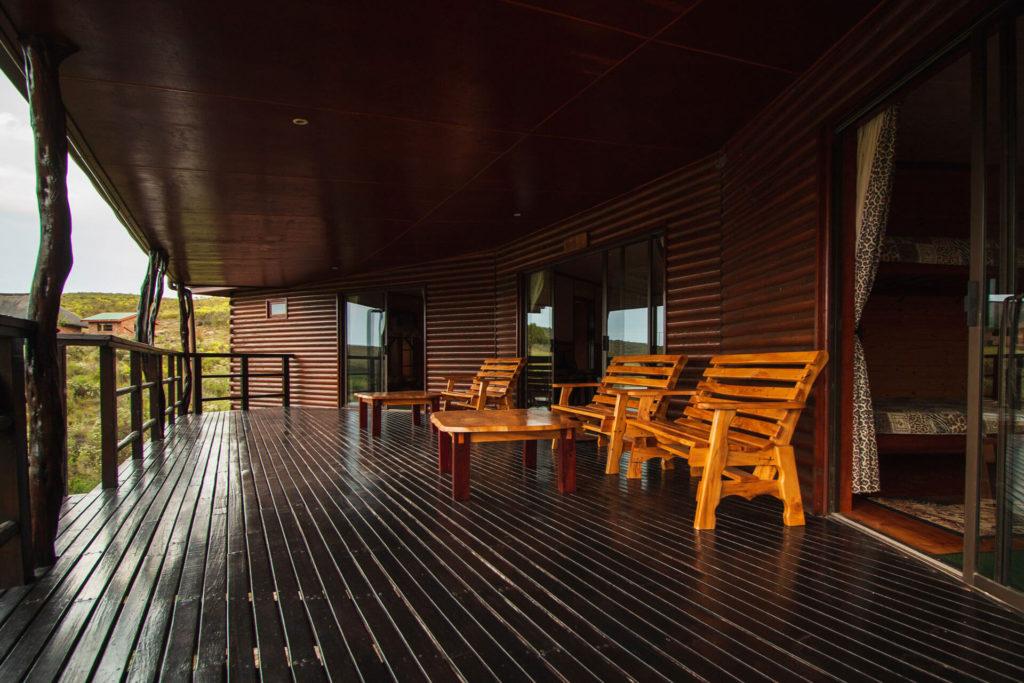 Mpunzi Log Cabin front porch