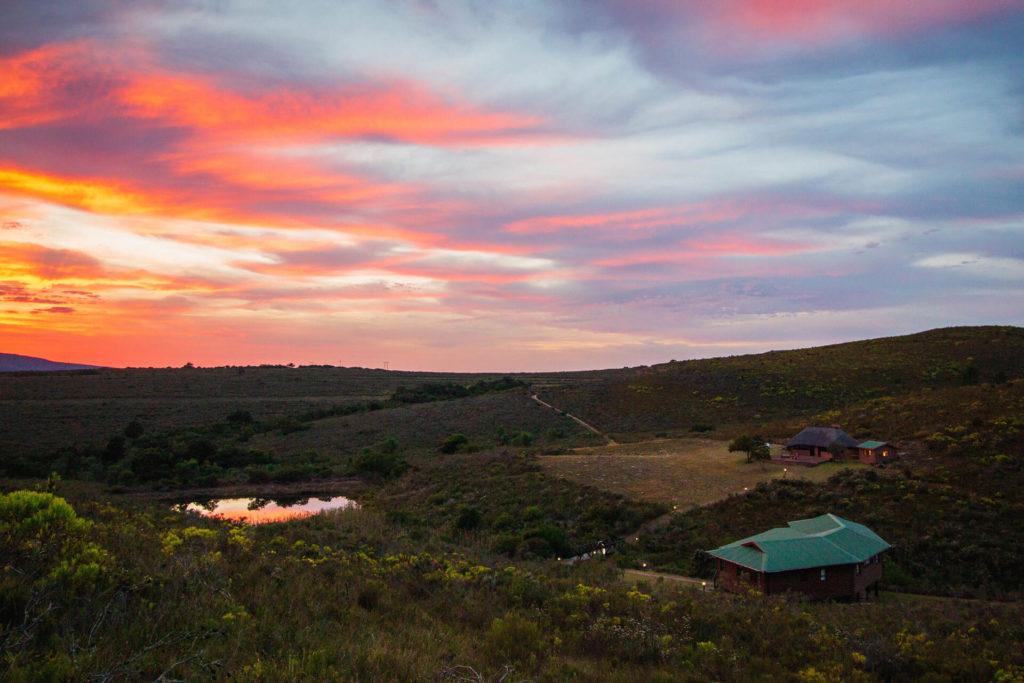 Mpunzi Log Cabin & Mbabala Lapa in the sunset
